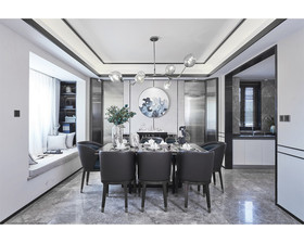 130平米三室两厅中式风格餐厅图