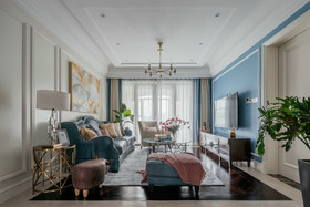 120平米复式美式风格客厅设计图