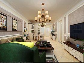120平米三室一廳美式風格客廳照片墻效果圖