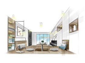 80平米三室一厅现代简约风格储藏室图片