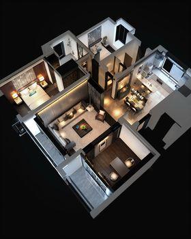 100平米三室两厅中式风格客厅装修案例