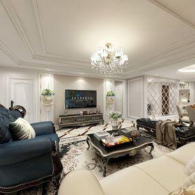 130平米三室两厅欧式风格客厅装修效果图