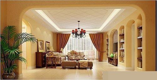 客厅:垭口及电视背景墙通过拱形造型体现欧式的风格,给人感觉典雅
