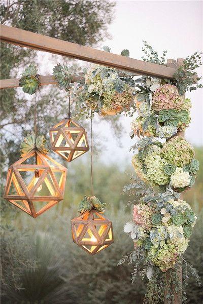 多肉植物主题婚礼营造森系清新氛围