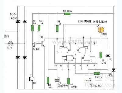 光敏电阻控制灯电路图谁有?