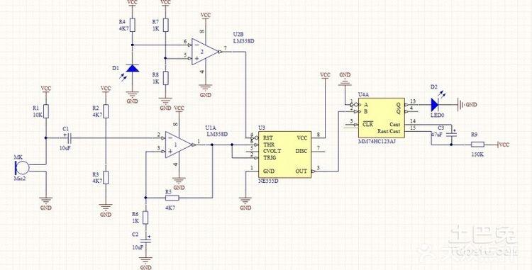 谁有简易声控灯电路图?