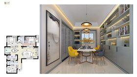 富裕型140平米三室一厅现代简约风格餐厅图片大全