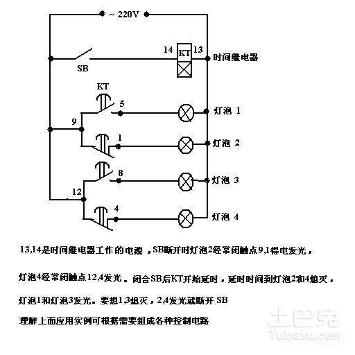 见图 st3pf时间继电器的接线方法 第一、控制接线:你把它看成直流继电器来考虑。3、7用来接12V控制电压;2、7用来接24V控制电压。其中的7当成直流电的负极,使用时接到零线。2接220V的火线。 第二、工作控制:虽然控制电压接上了,但是是否起控制作用,由面板上的计时器决定。 第三、功能理解:它就是一个开关,单刀双掷的,有一个活动点活动臂,就像常见的闸刀开关的活动刀臂一样。8是活动点,5是常闭点,继电器不动时,他们两个相连。动作时,8、6相连。 第四:负载接线:电源的零线或负极接用电器的零线或负极端。
