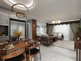 140平米三室一厅中式风格走廊欣赏图