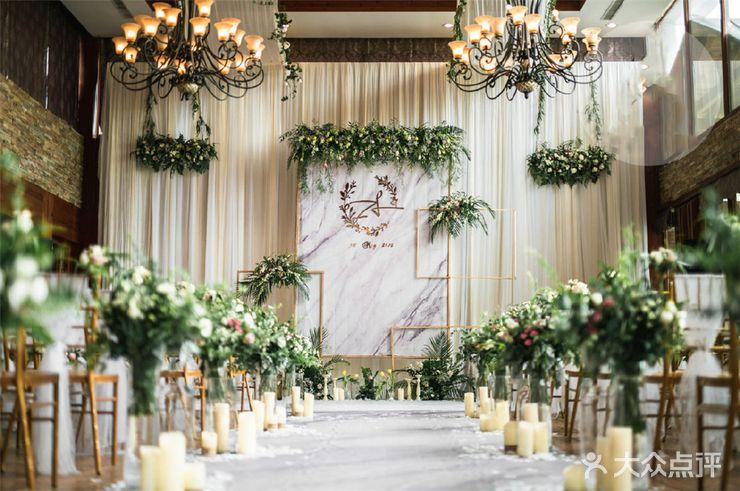小清新-大理石元素-绿色花艺婚礼