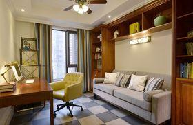 110平米三室两厅美式风格书房沙发设计图