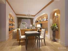 富裕型140平米三室两厅美式风格餐厅设计图