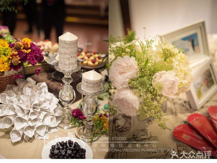 合影区 甜品区 签到处 迎宾背景 迎宾区布置:迎宾背景:布幔,森系花艺