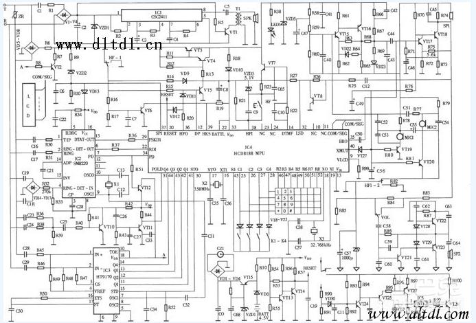 电路图如图。基本按键 电话电源线、电话线、收线开关、受话器、增音按钮、送话器、本机号码片、铃声及免提喇叭、记忆代码键、记忆号码片、数字按键、记忆取出键、记忆储存键、重拨键、工作指示灯、免提键、R键、免提送话器、铃声调节开关、P/T开关、免提接收音量调节旋钮。