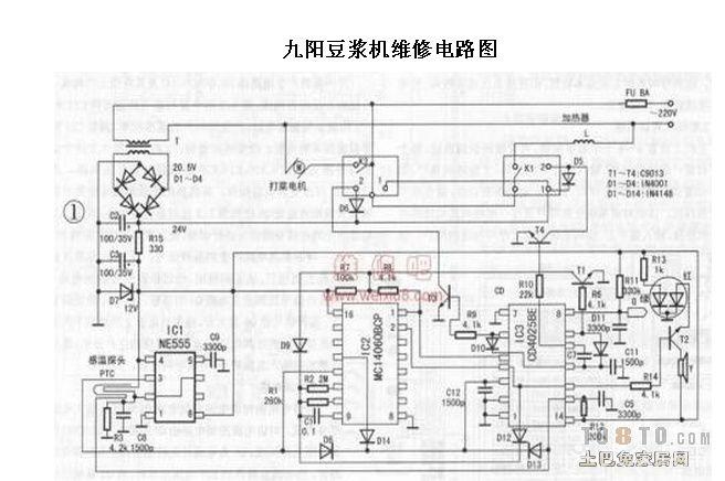 九阳豆浆机电路图求一张