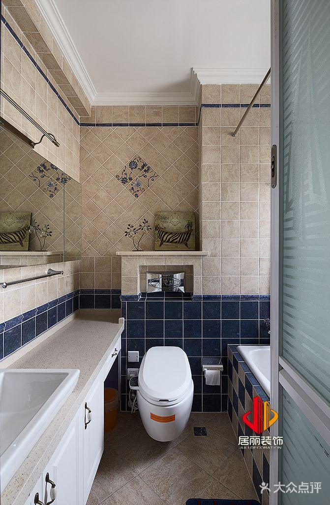 5-10万110平米三室两厅美式风格卫生间欣赏图