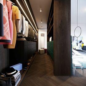 100平米三室一厅混搭风格衣帽间图