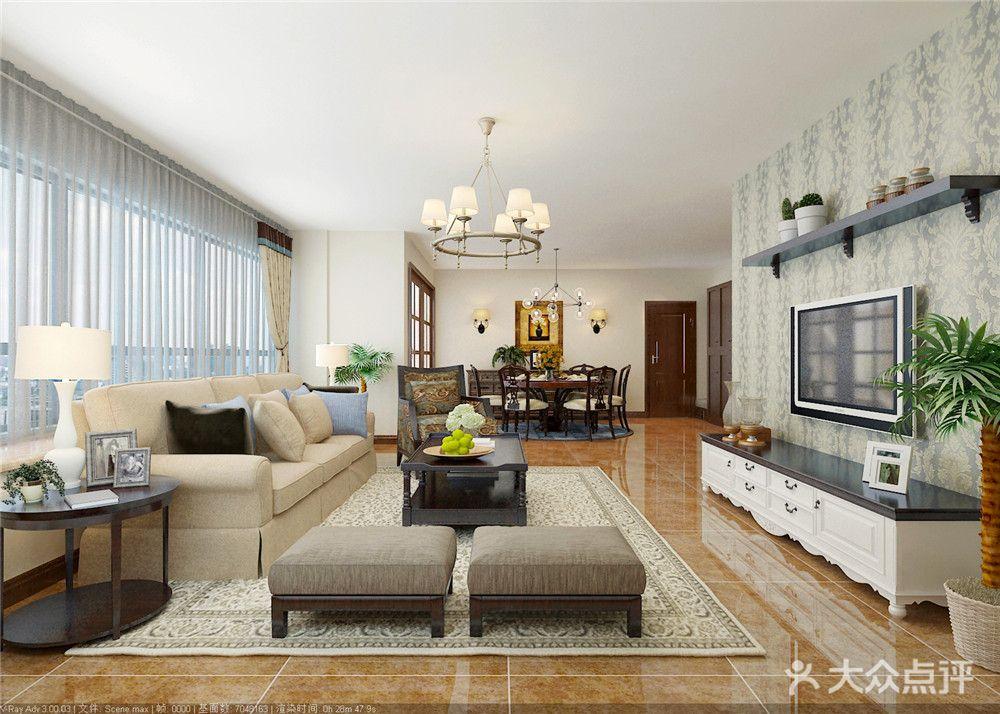 整个空间融入了典雅的欧美风韵,一气呵成,自然而协调,使整个风格更显温馨、贵气,最终达到高雅中显贵气,别致中显温馨。地板上的几何图案,使整间房子充满了浓郁清新的欧式气息的设计感。吊灯的设计和地板上的几何图案呼应的刚刚好,质感的沙发,精巧细致的玫瑰花石膏线,复古的地砖,格调优雅的艺术摆设,表达了对高品位生活向往的同时又保留了一份洗却铅华的纯真情怀。