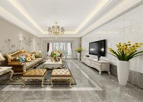 130平米三室两厅欧式风格客厅效果图
