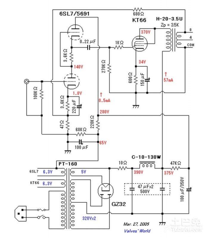 2,本电路图是乙类推挽功放,是单声道.
