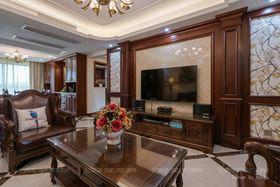 140平米三室两厅欧式风格客厅背景墙设计图