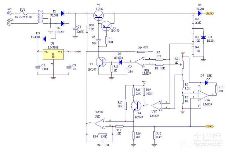 1、提供一个12V电瓶充电电路,请见附图。 2、12V电瓶的终止充电电压为(12V1.2)1.44V。在输出端连接一个14.4V的电源,调整3.9K电位器,使双色发光二极管改变颜色即可。此电压为充满电时的电压,自动控制。