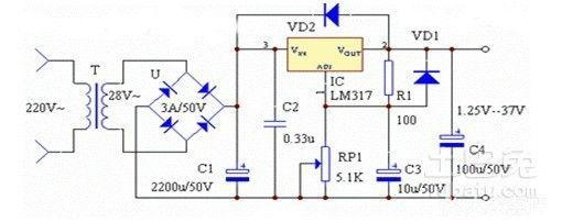 求一份lm317可调电源电路图