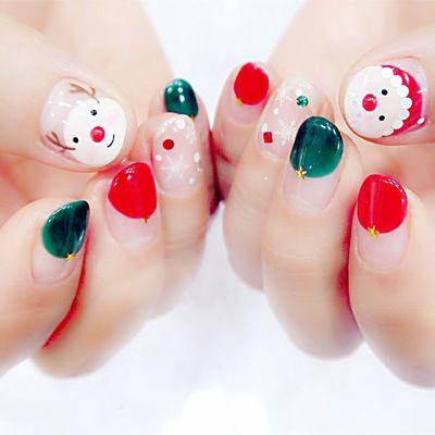 萌萌哒圣诞老人美甲款式图