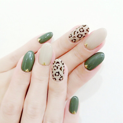 豹纹青草绿美甲款式图