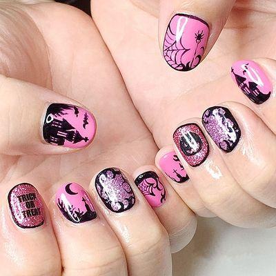 粉色 圆形 手绘 闪粉 黑色美甲款式图