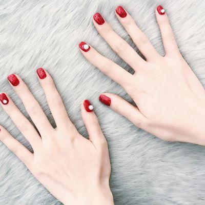 圣诞红色珍珠款(可换色)美甲款式图