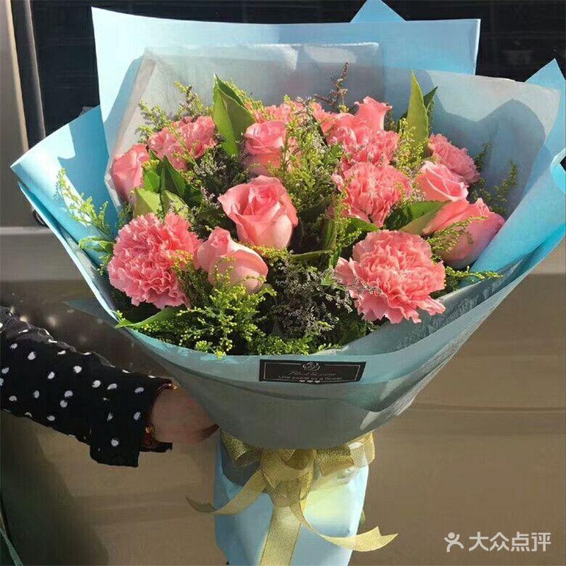 玫瑰礹c.??$9.?_c款10朵粉康乃馨+9朵粉玫瑰
