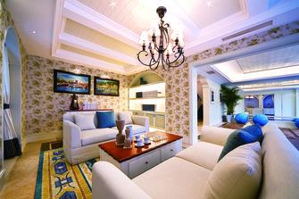 富裕型120平米三室两厅地中海风格客厅图片大全