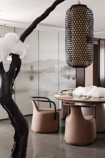 豪华型140平米三室一厅中式风格餐厅装修图片大全