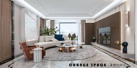 豪华型140平米三室三厅轻奢风格客厅图片大全