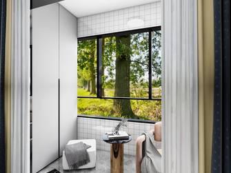 经济型80平米三室一厅混搭风格阳台图