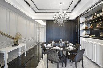 富裕型140平米英伦风格餐厅图片