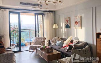 富裕型90平米三室一厅北欧风格客厅图片
