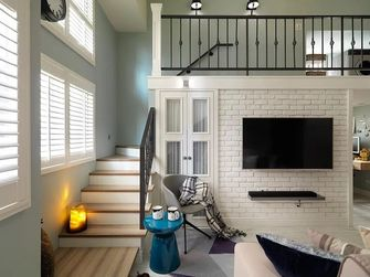 富裕型90平米一室两厅美式风格楼梯间图