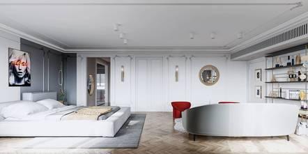 豪华型120平米三室两厅混搭风格卧室图片大全