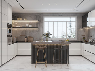 豪华型140平米别墅法式风格厨房图片