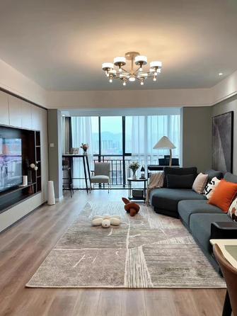 富裕型110平米三室两厅现代简约风格客厅图片大全