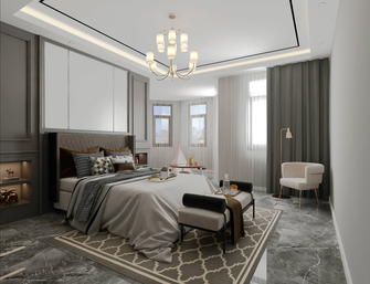 富裕型140平米三室五厅法式风格卧室图片大全