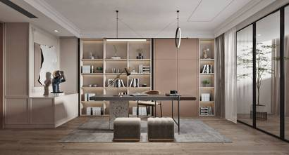 140平米复式法式风格书房效果图
