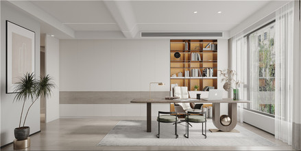 140平米现代简约风格书房装修案例