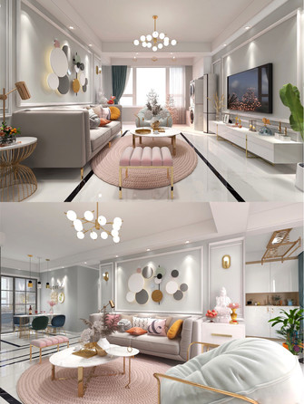 豪华型140平米四室一厅北欧风格客厅图片