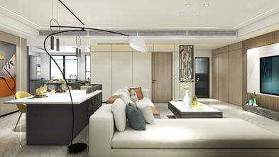 富裕型100平米三室两厅现代简约风格客厅图
