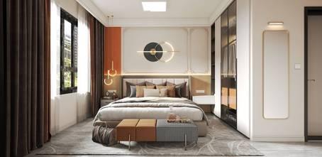 富裕型80平米三室两厅法式风格卧室图片大全