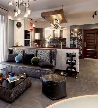 富裕型120平米三室两厅工业风风格客厅图片大全