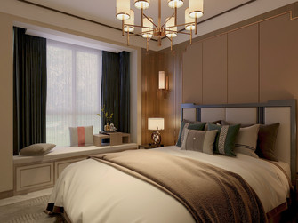 130平米三中式风格卧室欣赏图